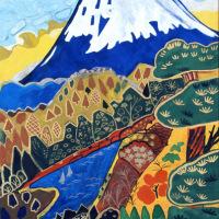 片岡球子「富士二題「富士」-青-」リトグラフ, 45.0cm×32.8cm