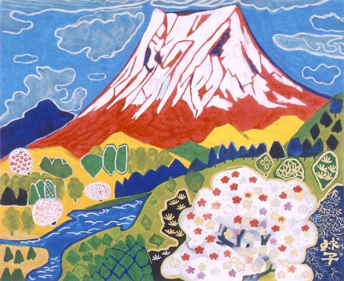 片岡球子「富士二題「富士」-赤-」リトグラフ, 33.8cm×41.1cm