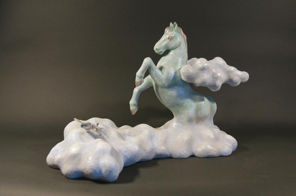 蓮の会-木彫-「鉄の馬-天馬-」