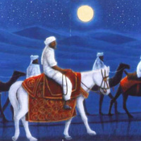 平山郁夫「アフガニスタンの砂漠を行く・月」リトグラフ, 42.5×91cm