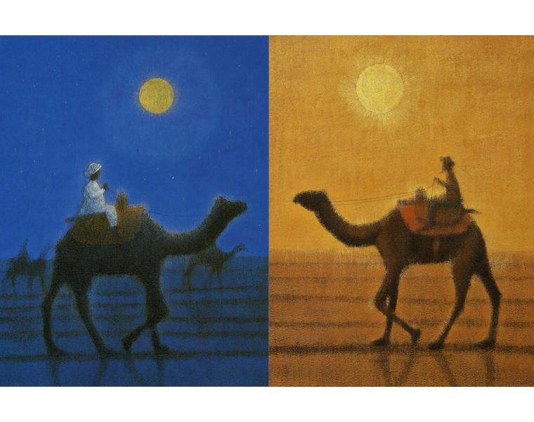 平山郁夫「月明砂漠行く」「朝陽駱駝行く」リトグラフ, 天地45.5cm×左右35.5cm