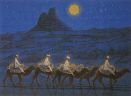 平山郁夫「月光砂漠らくだ行」リトグラフ, 44.2cm×60.5cm