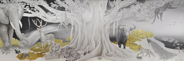 絹谷香菜子「Dawn of Symphony」200x582cm