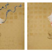 絹谷香菜子「風鶴雷鶴図(右)(左)」