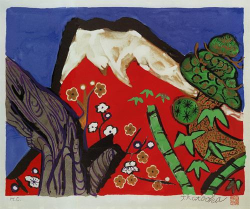 片岡球子「白壽の赤富士」リトグラフ, 42.8cm×54.0cm
