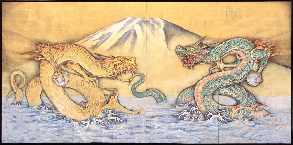 塩崎顕「富士双龍図」四曲一隻