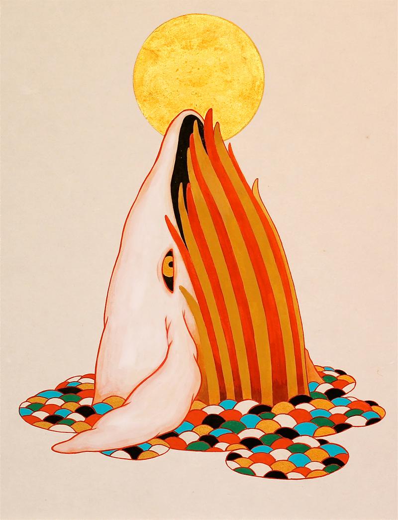 ツジモトコウキ「紅白鯨図 〜陽〜」F6, 麻紙 岩絵具 水干 金箔
