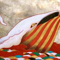 ツジモトコウキ「大和紅白鯨図」P8, 麻紙 岩絵具 水干 銀箔