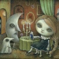 まちゅまゆ「夜更かしの部屋の朗読会」油彩, F3, 2014