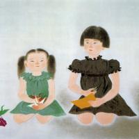 小倉遊亀「姉妹」リトグラフ, 45.3cm×54.0cm