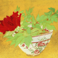 小倉遊亀「ぼたん」リトグラフ, 37.9cm×45.2cm