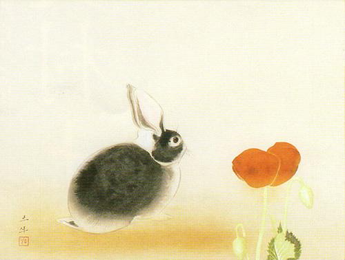 奥村土牛「兎」版画, 34.5cm×45.4cm