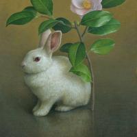 奥村晃史「椿とウサギ」F6