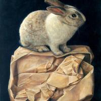 奥村晃史「紙の上のウサギ」F6, 40.9x 31.8