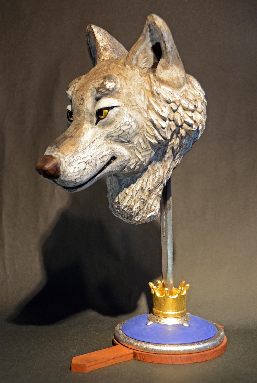 馬塲稔郎「ゆうかんな王子」43.3x19.2x29.8cm, 木彫(檜・欅)、漆、箔、彩