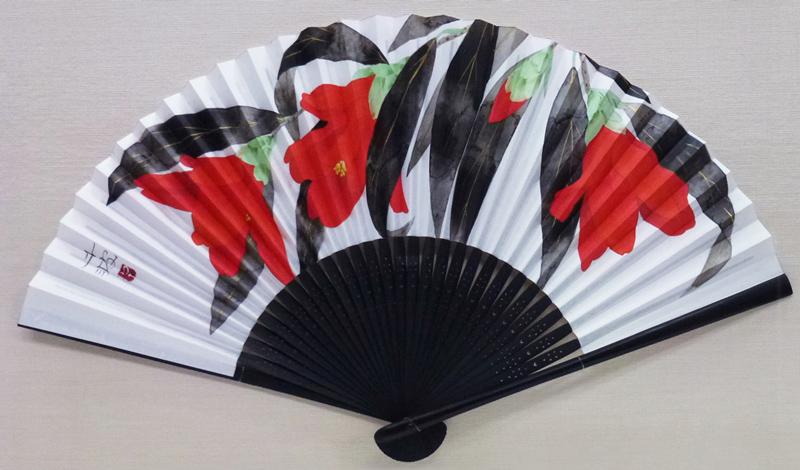 中島千波「百合椿」扇子