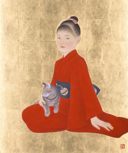安田育代「猫と少女」F20