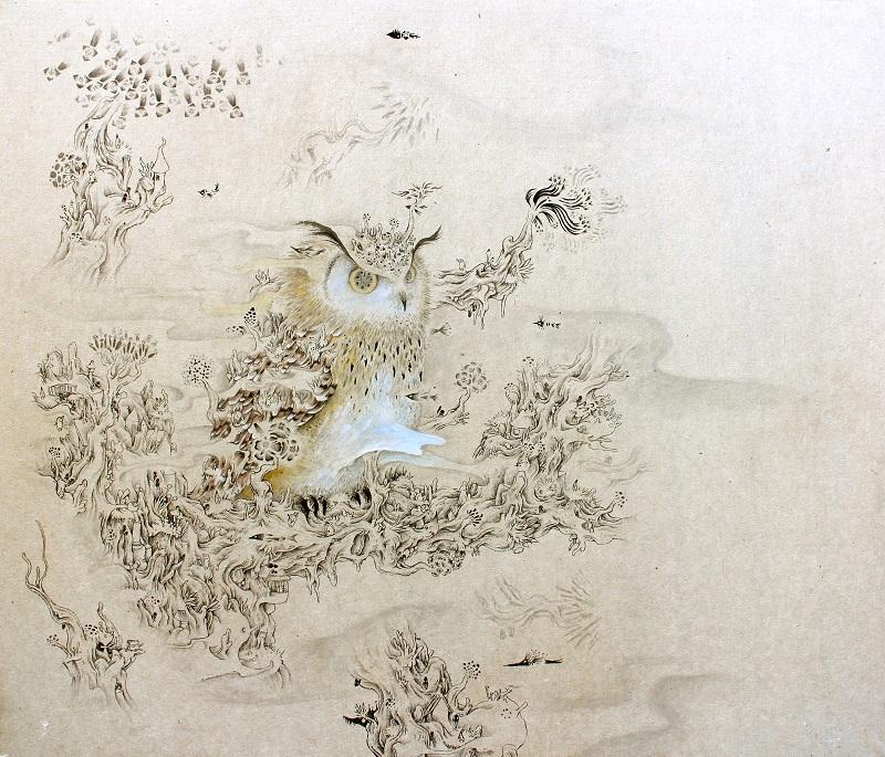 堀としかず「ミミズク」455×530mm(和紙、墨、アクリル)