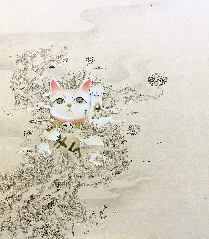 堀としかず「招木猫」530×455mm(和紙、墨、アクリル)