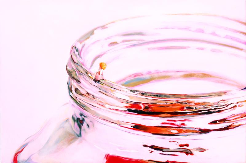 青山ひろゆき「瓶のふち」652×910mm,油彩キャンバス