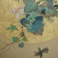 F8号_絹本著色、金箔、植物染料、岩絵具、墨