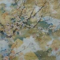 136×70cm_紙本彩色、楮紙、植物染料、銀箔、金箔、岩絵具、墨