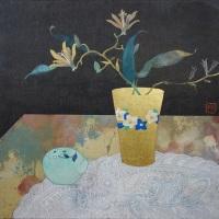 S4号_紙本彩色、楮紙、岩絵具、金箔、銀箔、植物染料、墨