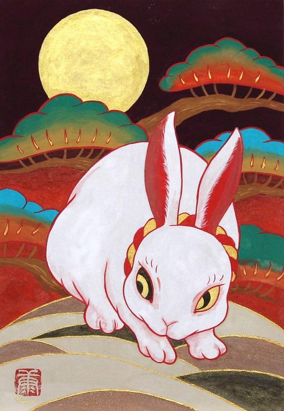 ツジモトコウキ「紅白兎図 ~夕月~」SM