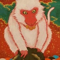 ツジモトコウキ「紅白老猿図」SM
