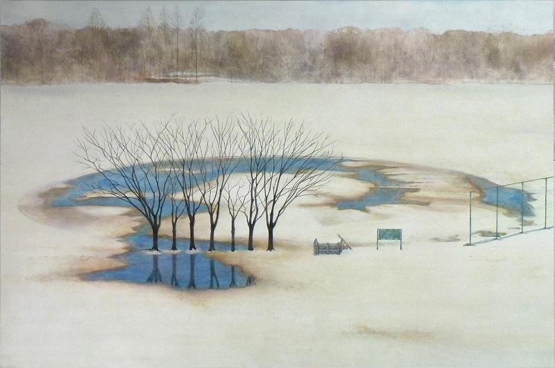 渡辺真木彦「雪どけのグラウンド」P6号