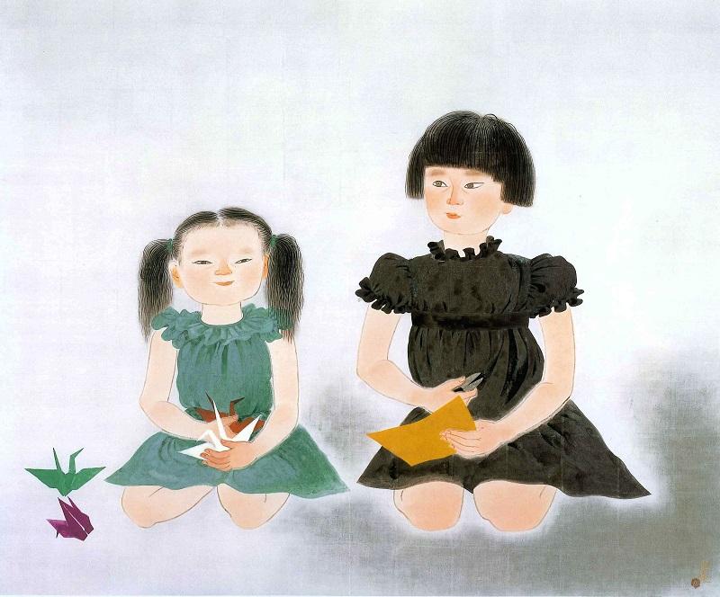 小倉遊亀「姉妹」リトグラフ