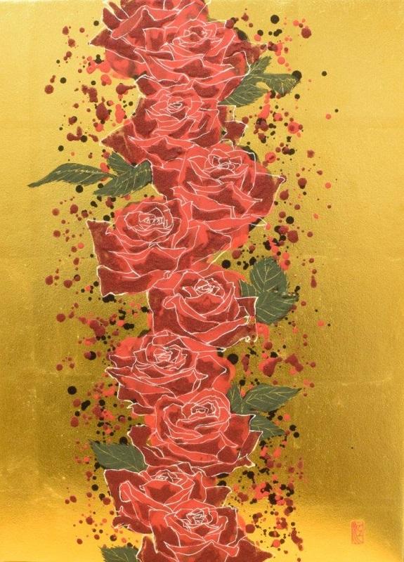 福井江太郎「赤い線」P8号