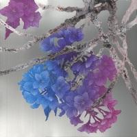 「空に染む」S4号 金属板/アクリル絵具・岩絵具・膠