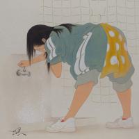 熊谷曜志「顔洗ウ彼女」F4号