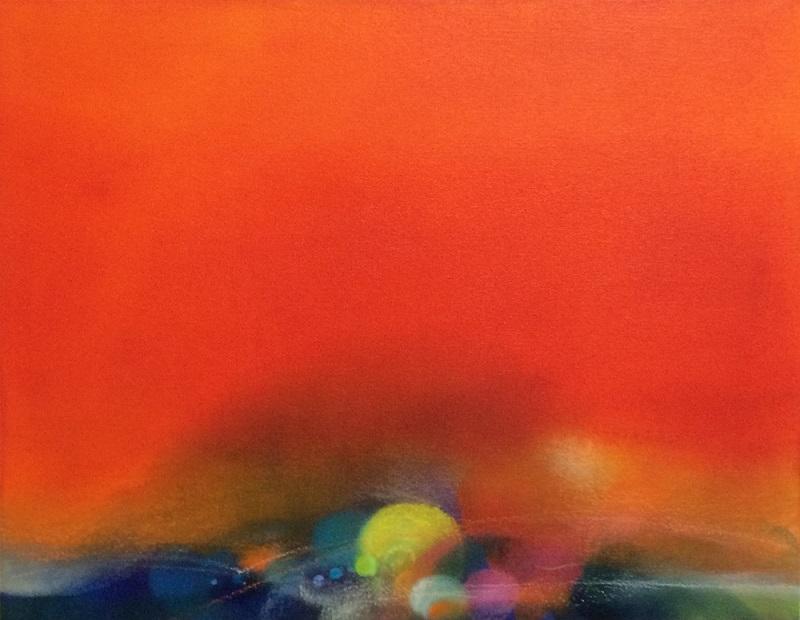 Emiko Aoki「fleeting, strong」40.9×53.0cm, 2014, oil, acrylic, pastel on canvas青木恵美子「はかなく強く」P10号、油彩・アクリル・パステル/キャンバス