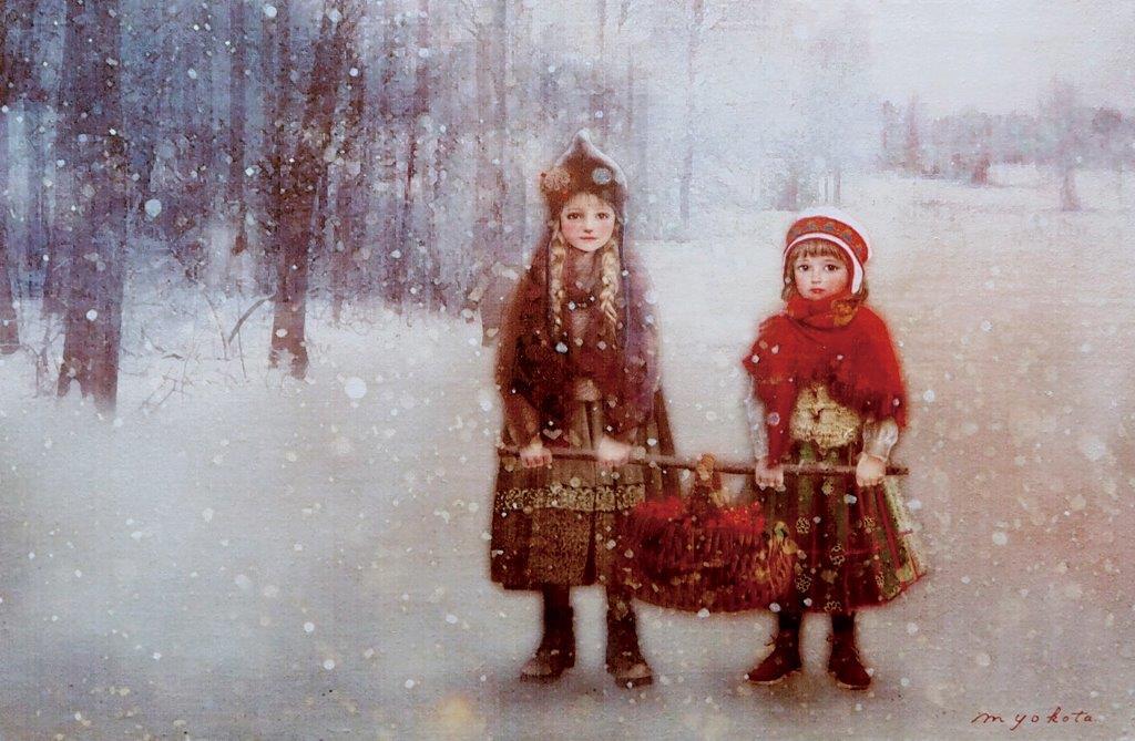横田美晴「Winter story」M25(ミクストメディア/パネルに綿布(二重ガーゼ)