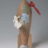 益田芳樹「藤と炎金魚」h30 × w18 × d10.5 cm