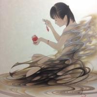 熊谷曜志「黒いドレスと緋いジャム」2019年、 F6号