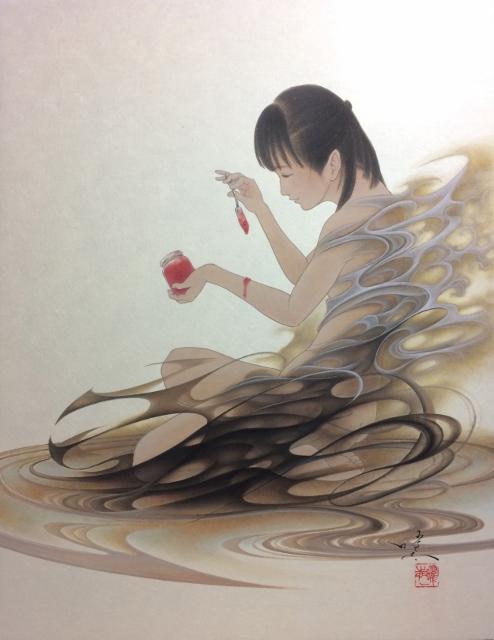 熊谷曜志「黒いドレスと緋いジャム」2019, F6号