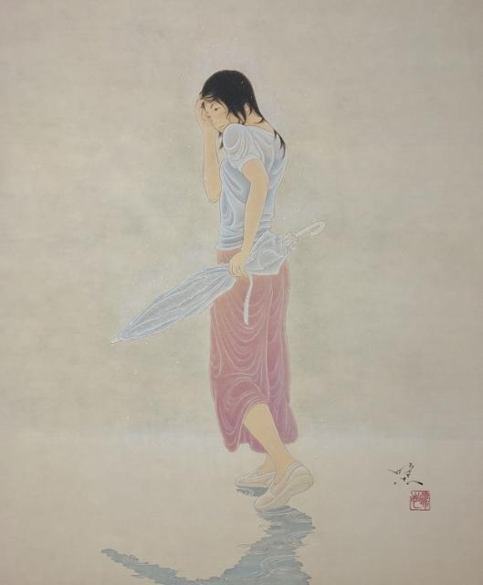 熊谷曜志「 傘を持つ女」2019, F8号