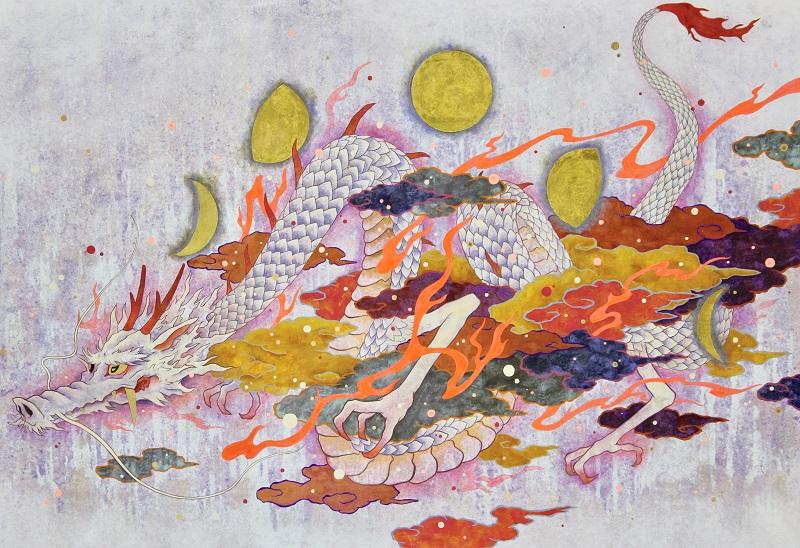 ツジモトコウキ「吉兆白龍月漂図」P80号