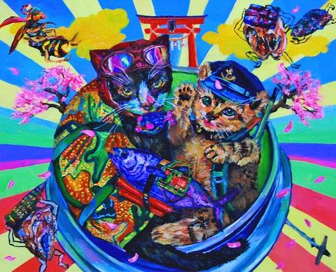 ハタユキコ「同期のにゃくら(猫徒動員シリーズ)」45.5×38 cm
