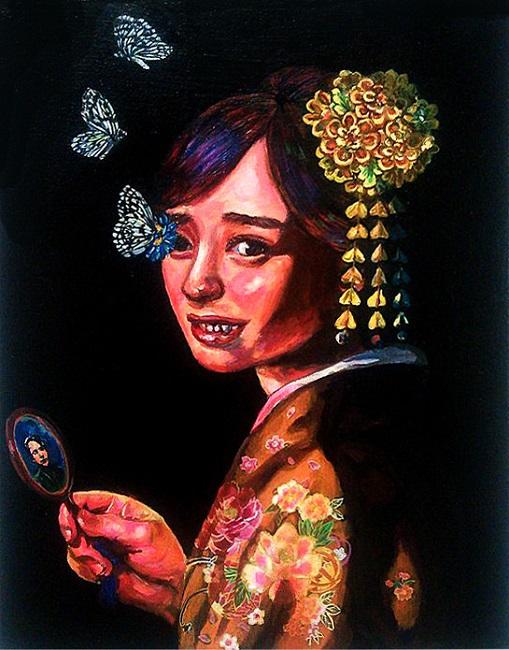 ハタユキコ「我が最愛の妻」2016年、410×318㎜、キャンバスに油彩
