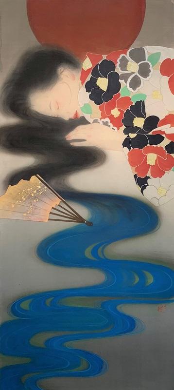 郝玉墨「如夢令」2019年、140×60cm、絵絹、胡粉、墨、岩絵具、金箔