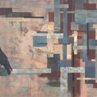 郝玉墨「都市折りたたみ」2017年、F100、高知麻紙、岩絵具、水干絵具、雲母、箔