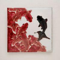 村中恵理「赤に黒」2019年、12 × 12 cm