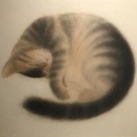 郝玉墨「寝子(猫)」2020年、F8