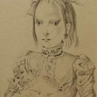 藤田嗣治「猫を抱く少女」 1950年、23.8×17.5cm、紙に墨