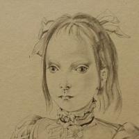 藤田嗣治「猫を抱く少女」 1950年、23.8×17.5cm、紙に墨(部分)