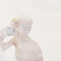 石原 葉「無効信号シリーズ boy」2016年、P30(65x91 cm)、綿布・岩絵具・水干